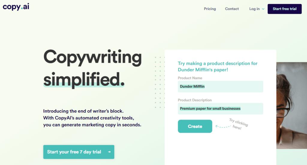 the Copy.AI home page.